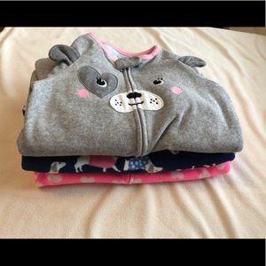 3xCarter's fleece pajama's 24m